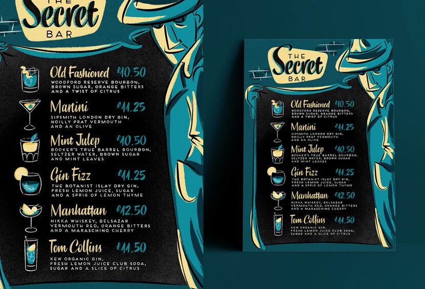 The Secret Bar vintage style menu design for inspiration
