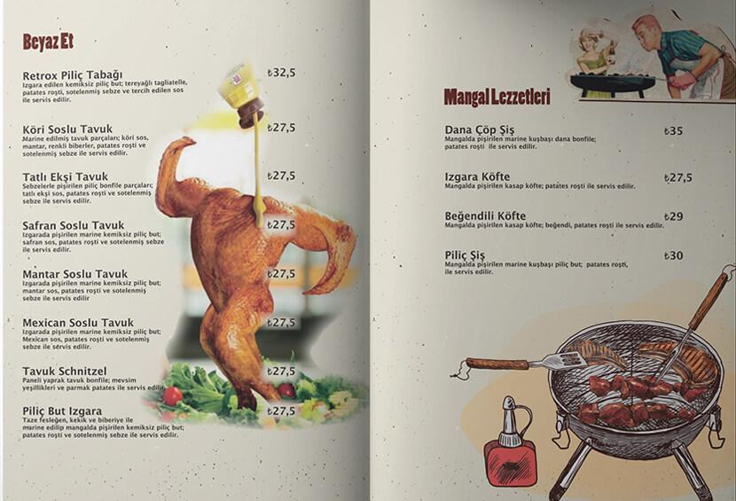 creative retrox menue calsmalar menu design