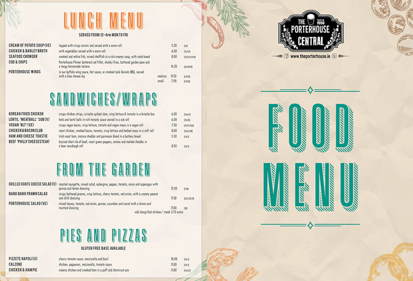 Porterhouse Central old style retro menu design for inspiration
