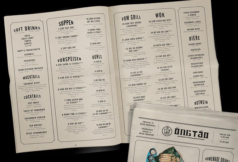 ONG TAO newspaper style menu design ideas
