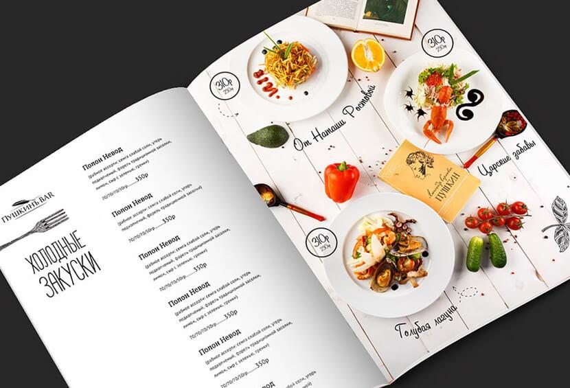 modern restaurant menu with hand drawn elements design for inspiration