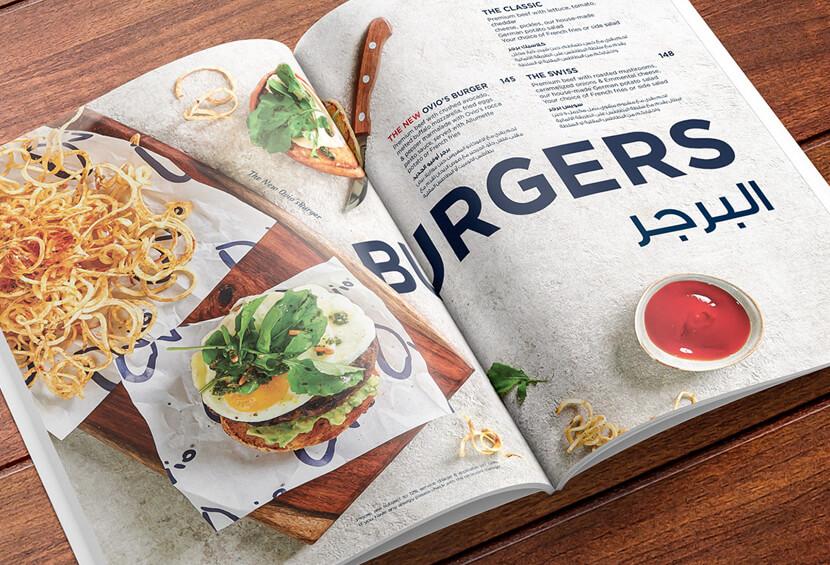 Beautiful Ovio modern menu with huge food images design example