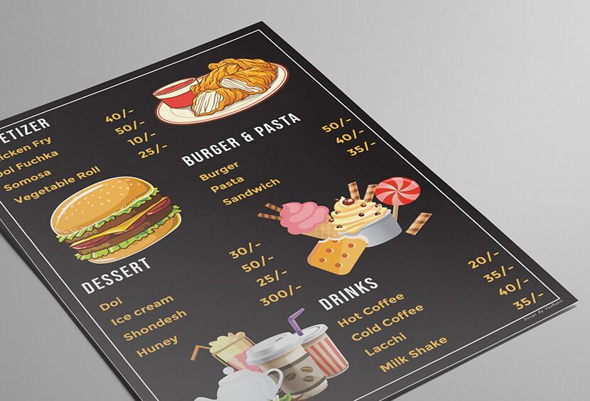 Amazing Restaurant Menu Card with food illustrations