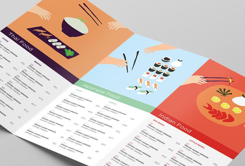 Awesome Deliverance flat illustrations menu design example