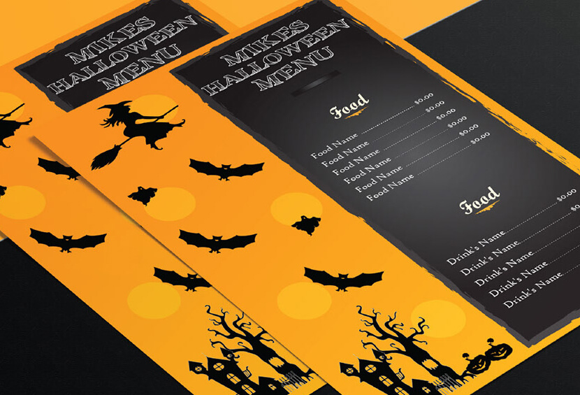Special Menu card Design For This HALLOWEEN