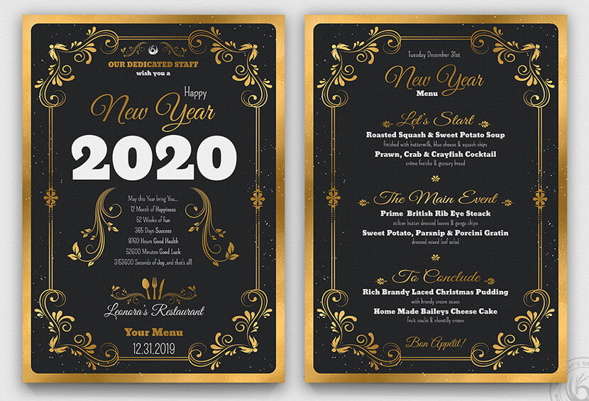 inspirational beautiful new year menu design