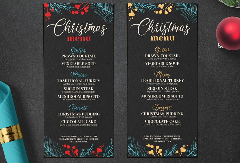 Stylish Christmas Party Menu design for inspiration