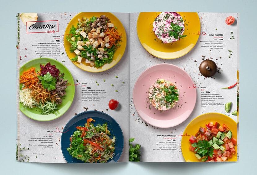 Kinza Cafe colorful dishes menu design for inspiration