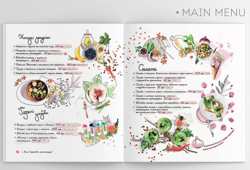 Anna Butkevych hand made menu design for inspiration