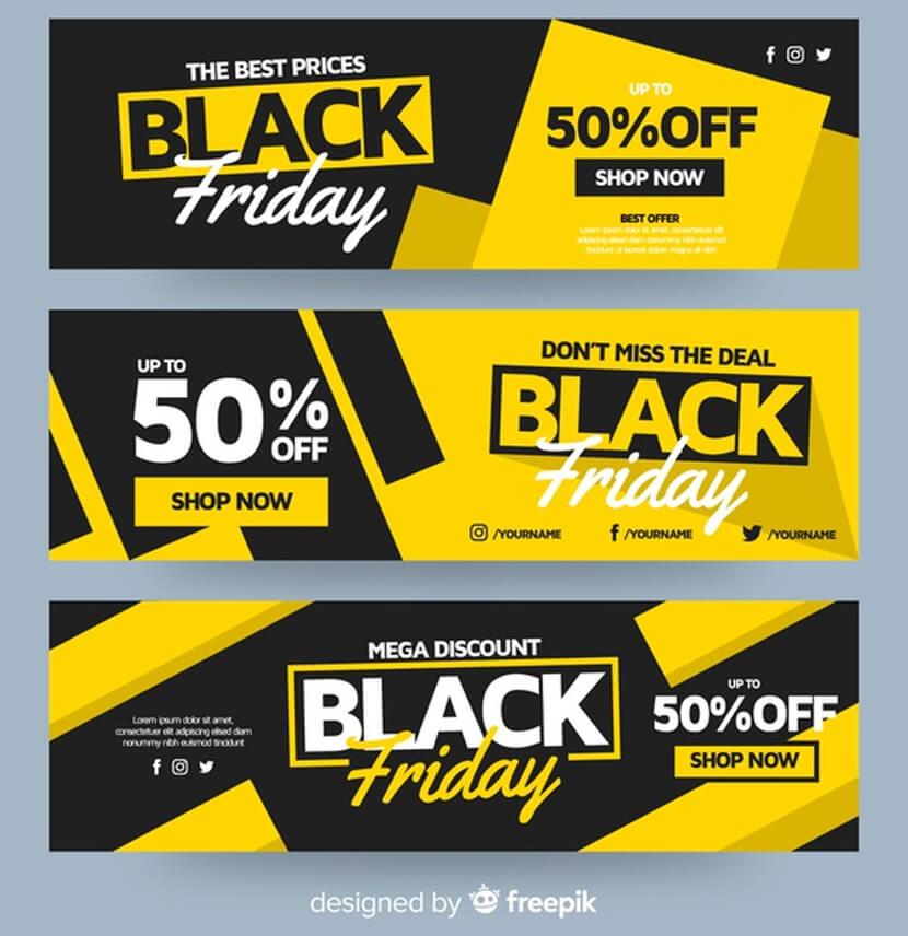 flat design black friday banner