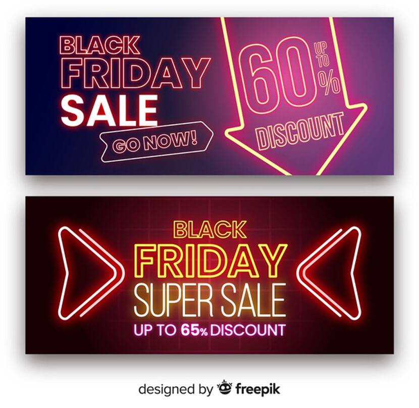 black friday super sale neon banners