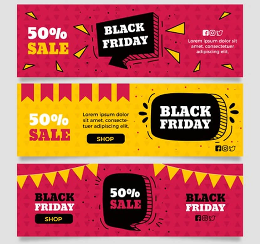 free hand drawn black friday banners