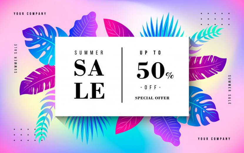 tropical summer sale banner