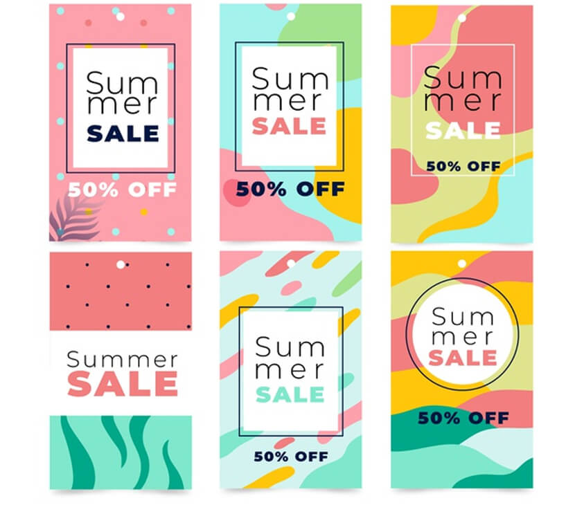 colorful summer sale banner collection