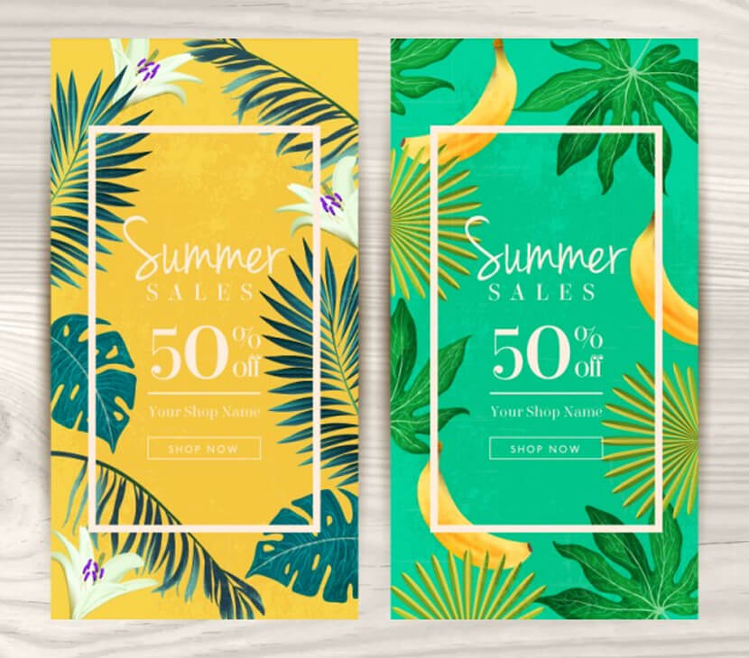 vouchers summer with tropical theme