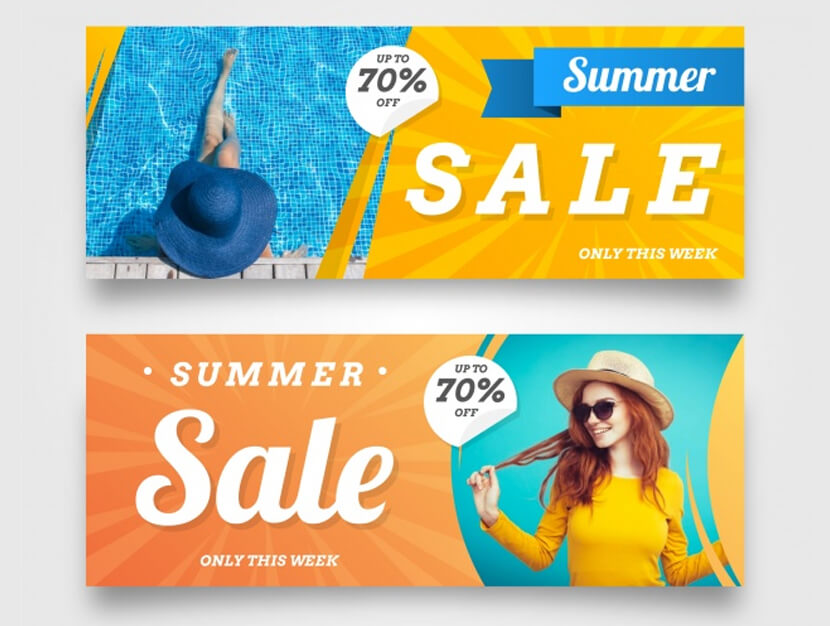summer sale banners with image of woman