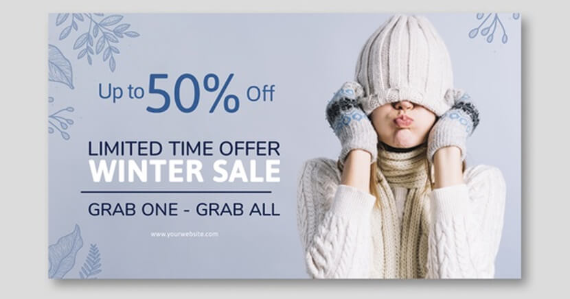 winter sale banner template with- oman