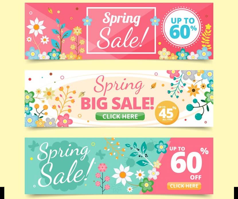 floral spring sale banner