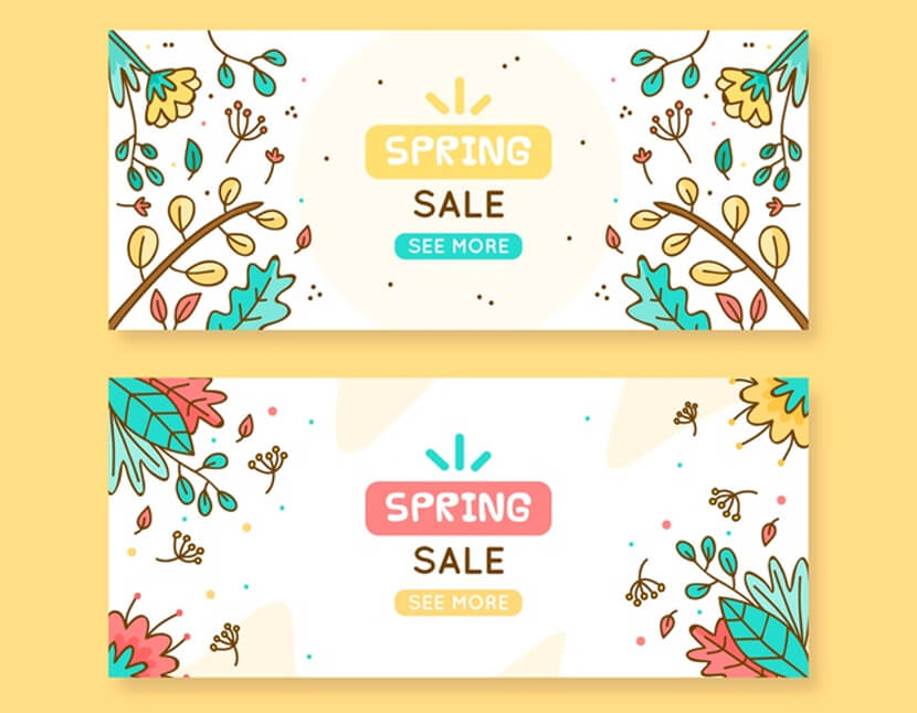 free cartoon spring sale banner