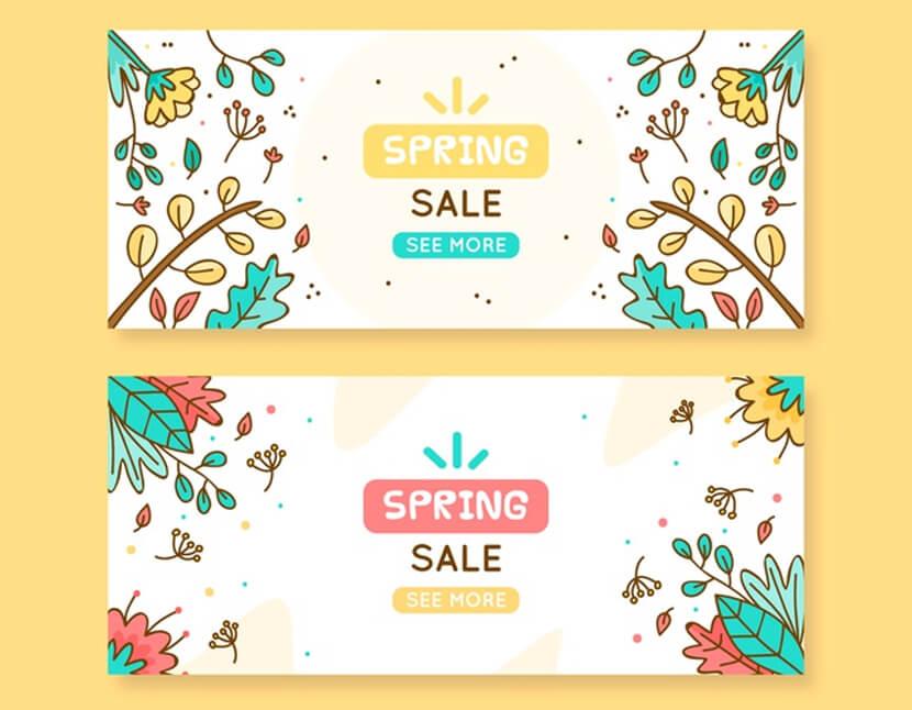 free cartoon spring sale banner
