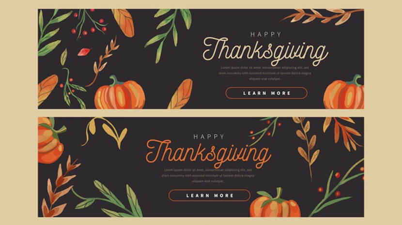 free flat design thanksgiving banners template