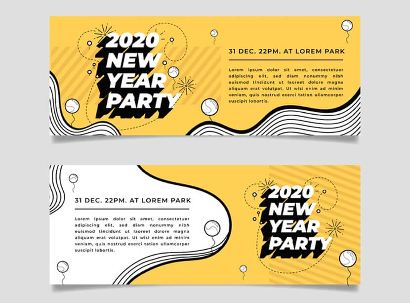 flat design new year 2020 party banners