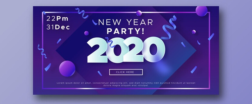 abstract new year 2020 party banners confetti