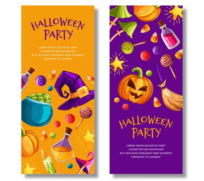 hand-drawn cartoon halloween banners