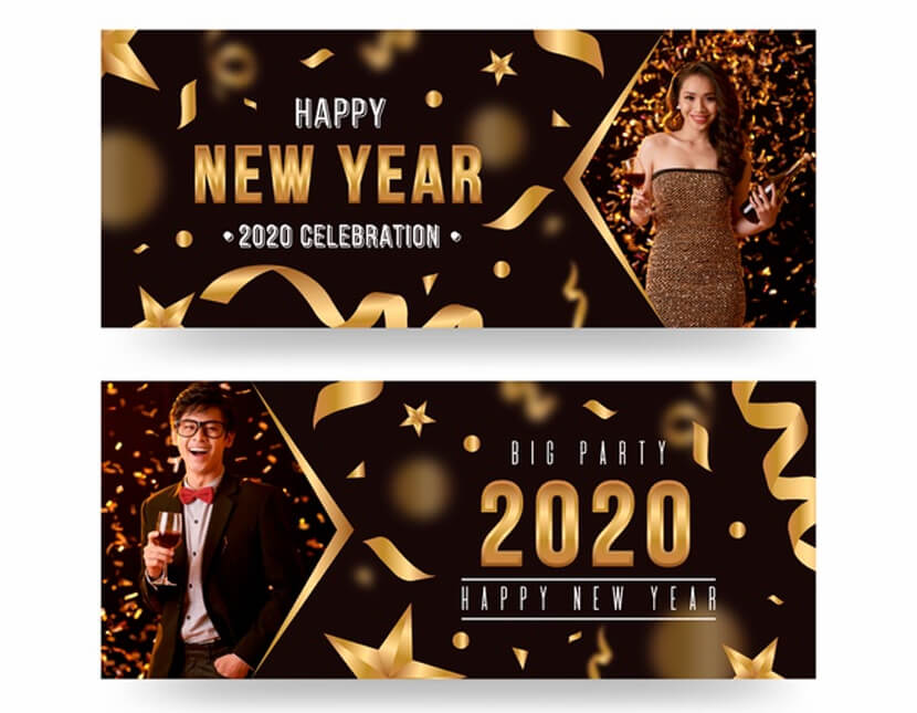 new year 2020 party banners with picture