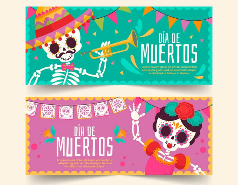 girl boy skeletons dia de muertos banners