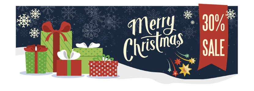 snowy merry christmas sale banner design