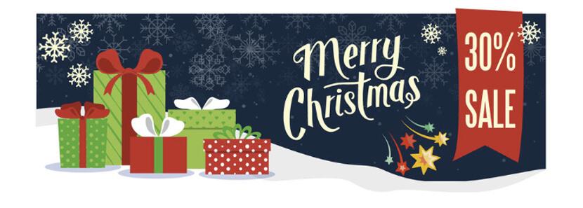 snowy merry christmas sale banner design