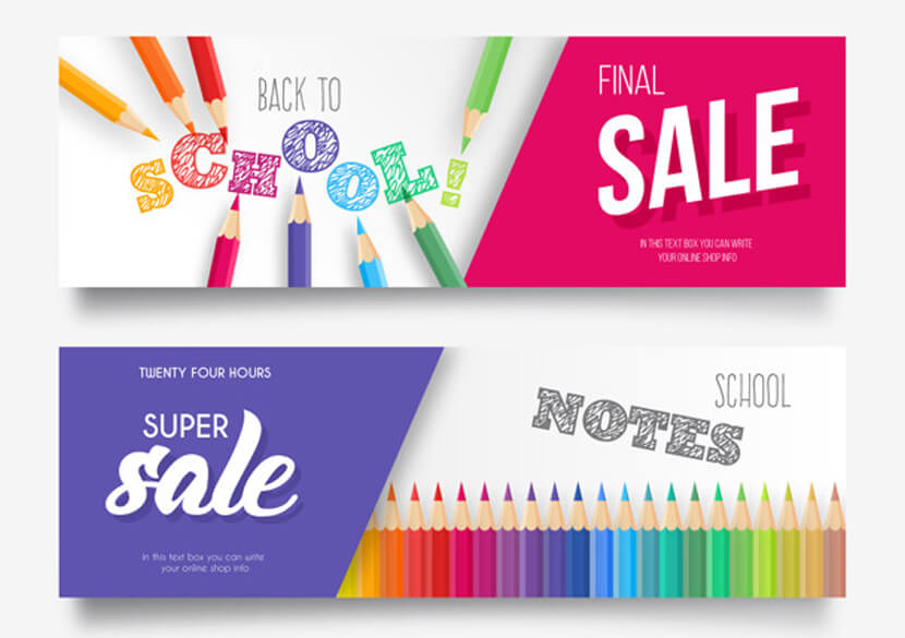 colorful back school sale banner collection