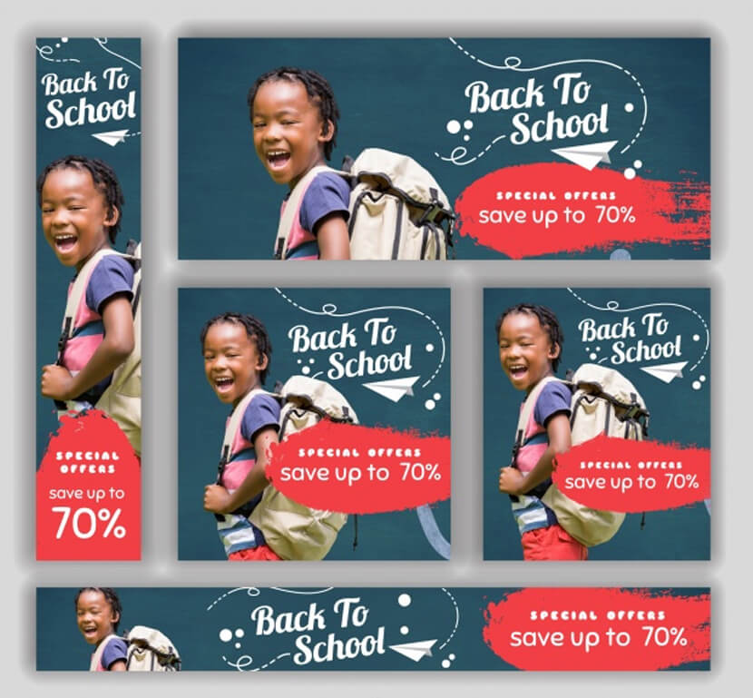 set back to school sale banners