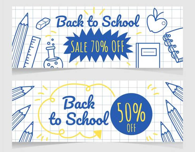 hand-drawn back to school sale banner vector