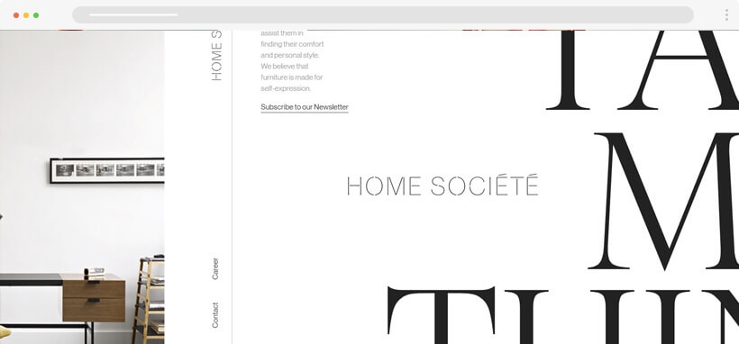 Web design Trends 2020 - homesociete - minimalist website design with serif fonts