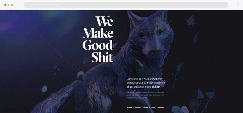 Web design Trends 2020 - dogstudio website with 3D wolf