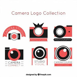 flat design photo camera logo collection