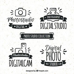 hand-drawn retro photo studio logos
