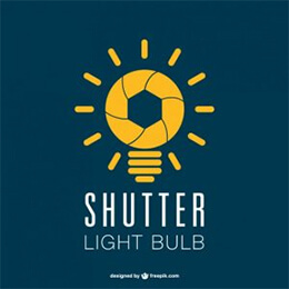 photography shutter lightbulb logo