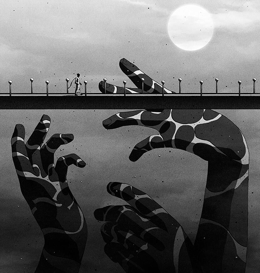 beautiful black and white illustration artwork