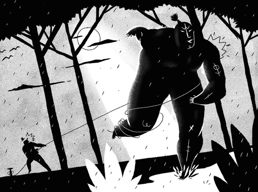 Unfortunate Night black and white illustration