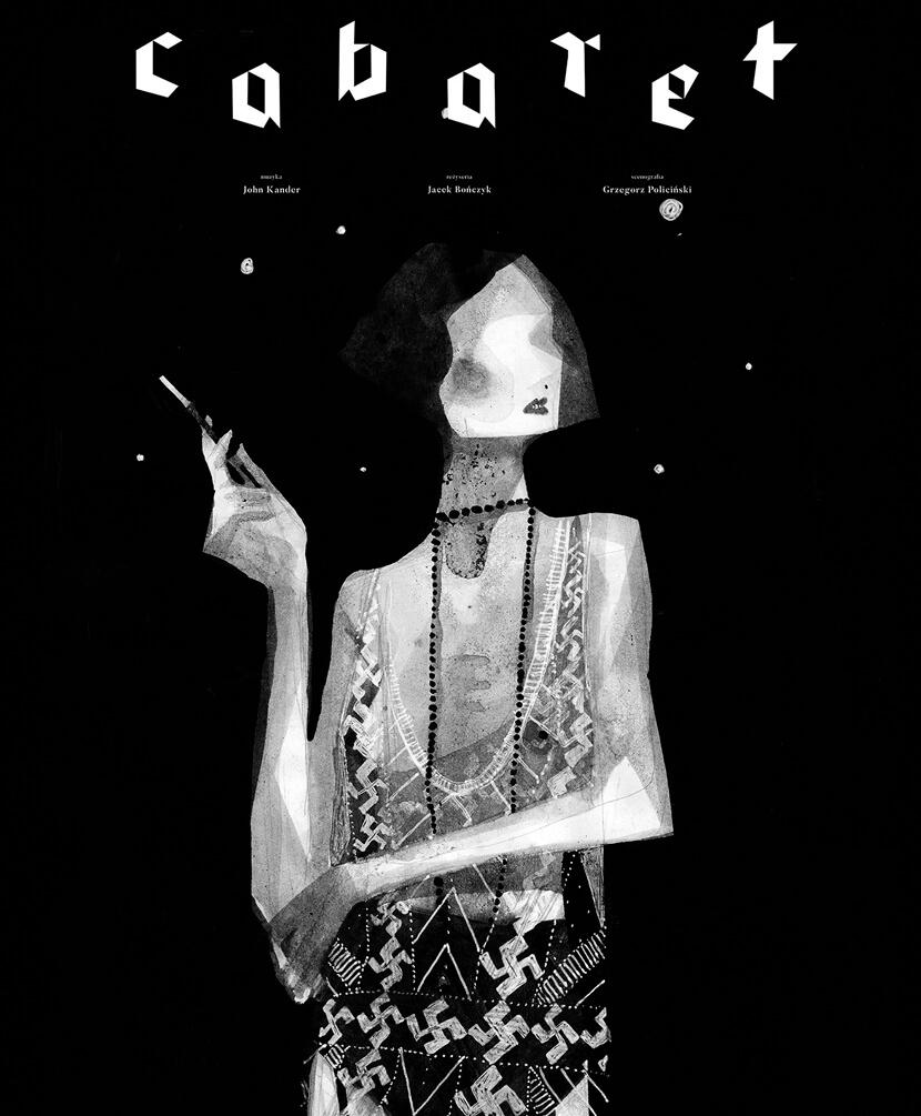 Cabaret poster black and white illustration