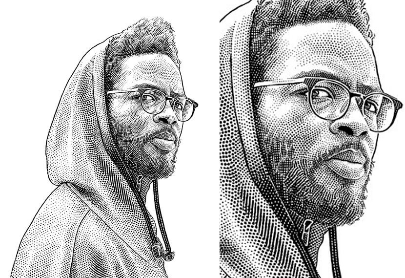 Stipple portrait of musician black and white illustration