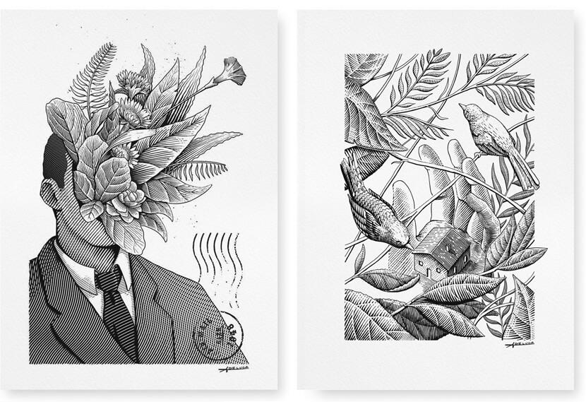Lok Zine Magazine Published black and white illustration