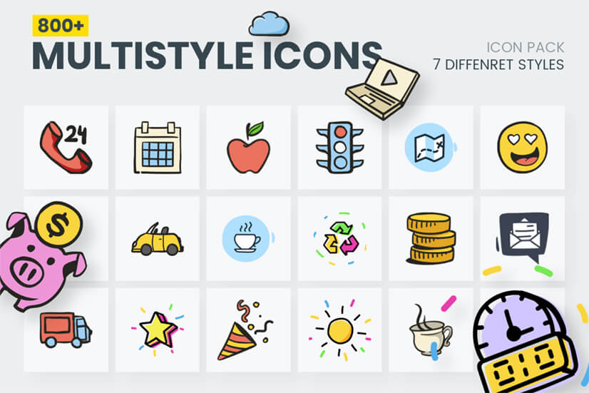 Colorful Vector Icon Mega Bundle - Cartoon Icons set