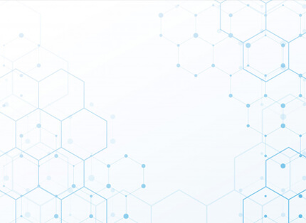 free white presentation background with blue tech hexagon