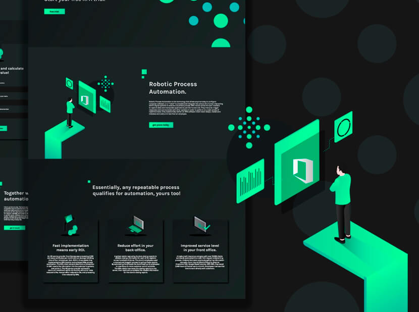Isometric Landing Page Design for RPA gray and green color combination 2020