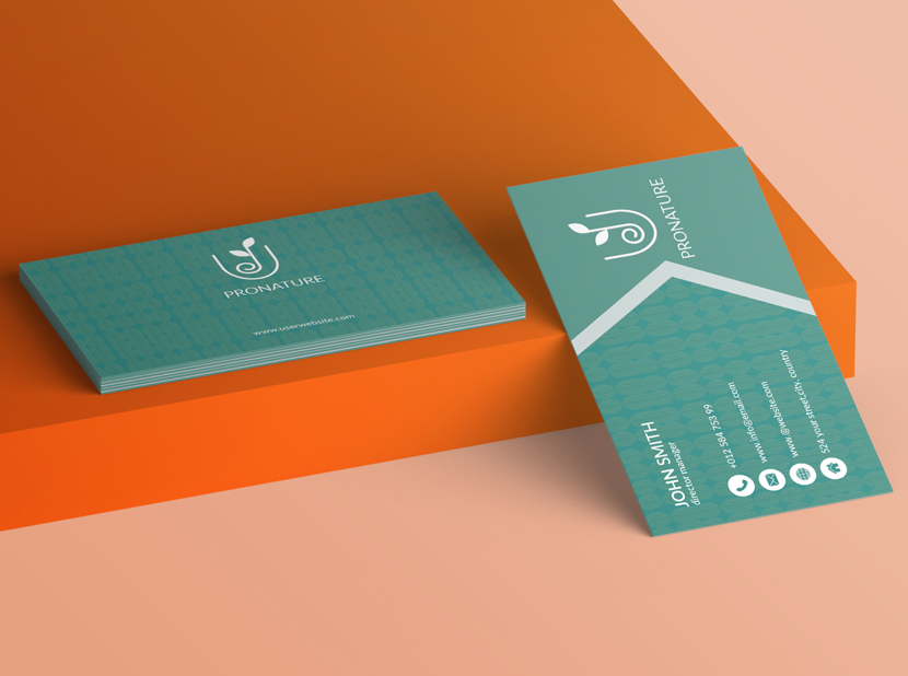 Natural business card coral and teal color combination examples 2020