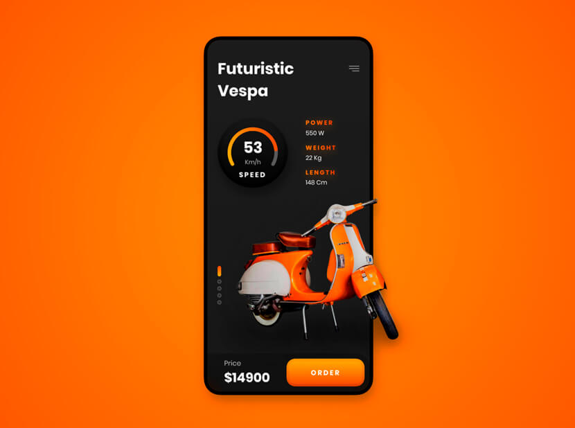 Futuristic Vespa black and orange color combinations 2020 example